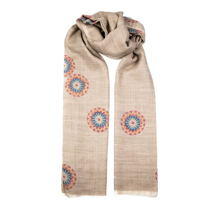 Hand block printed scarf Autumn mandala design is printed in a pale blue, blush pink & gold design on a neutral background. An elegant cashmere shawl. From Beshlie Mckelvie