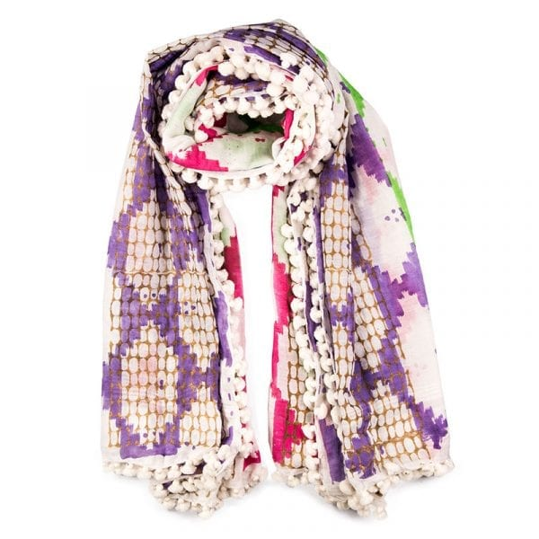Andulacia hand woven dupatta, 80% cotton & 20% silk. Made locally in India, individually hand dyed & block printed, each tassel is hand sewn. From Beshlie Mckelvie.