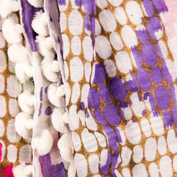 Close up detail Andulacia hand woven dupatta, 80% cotton & 20% silk. Made locally in India, individually hand dyed & block printed, each tassel is hand sewn. From Beshlie Mckelvie.