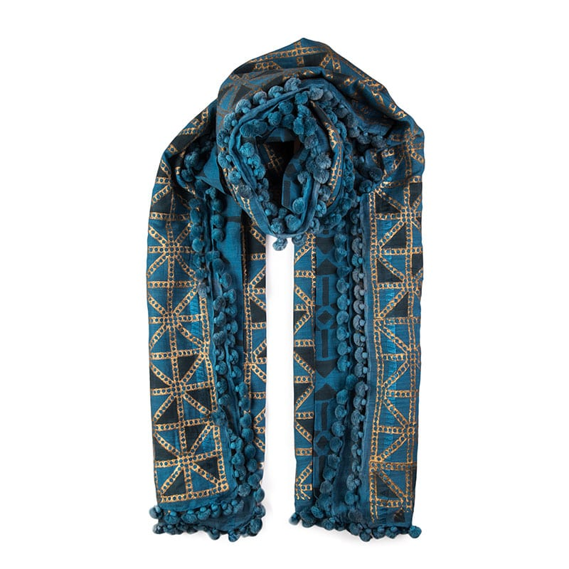 Byzantine Indigo hand woven dupatta - 80% cotton & 20% silk. Made locally in India, individually hand dyed & block printed, each tassel is hand sewn. From Beshlie Mckelvie.