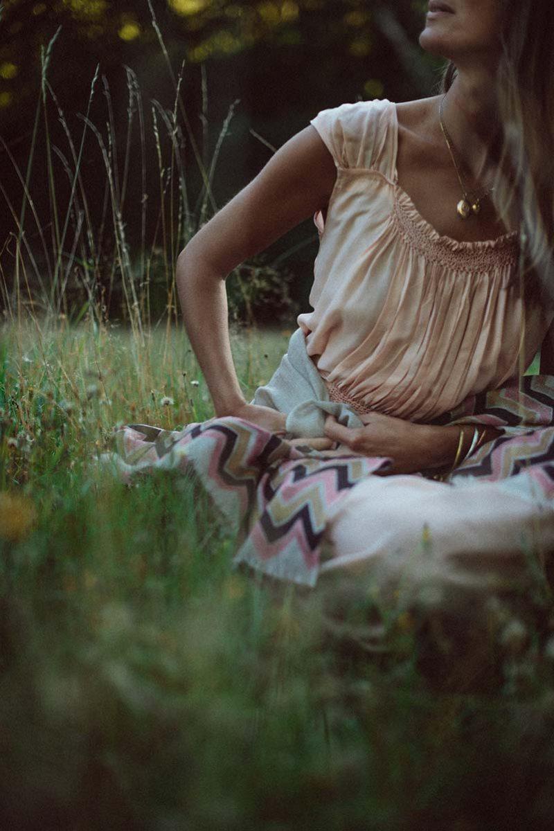 Beautiful Cali scarf from Beshlie Mckelvie worn in serene field