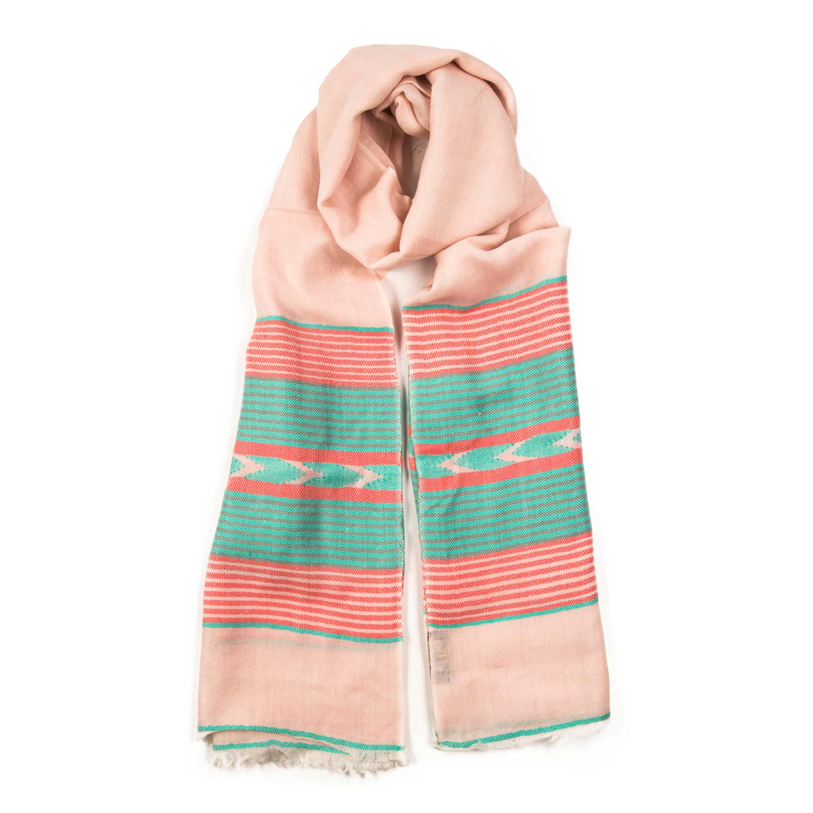 Aurora bursts with beautiful bands of color set on a pale cloud background. A hand woven and luxurious lightweight Pashmina, wear it your way. From Beshlie Mckelvie
