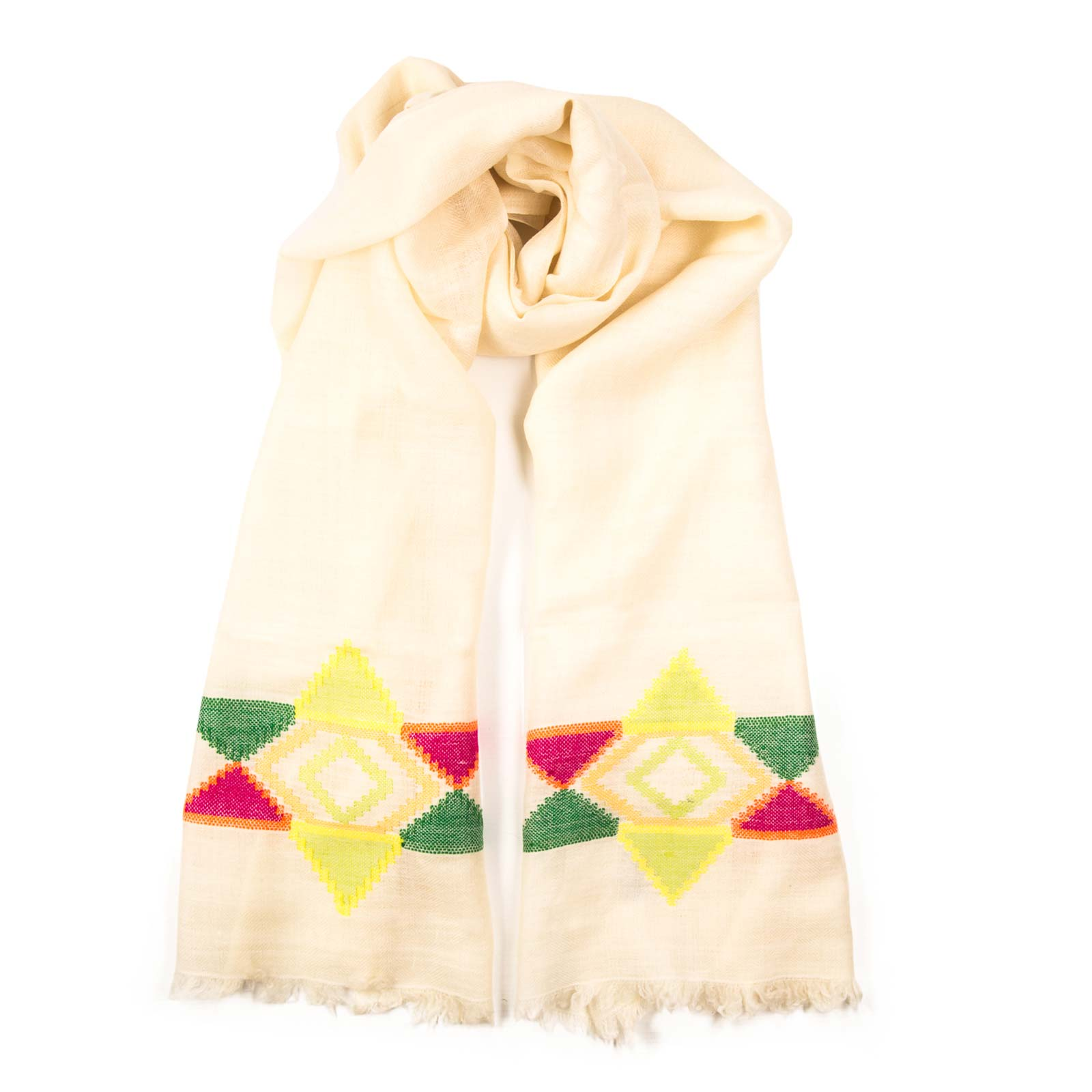 North star shawl bursts with a rainbow star and is color set on a white background. Made up of luxurious lightweight Pashmina, the scarf is hand woven. From Beshlie Mckelvie.