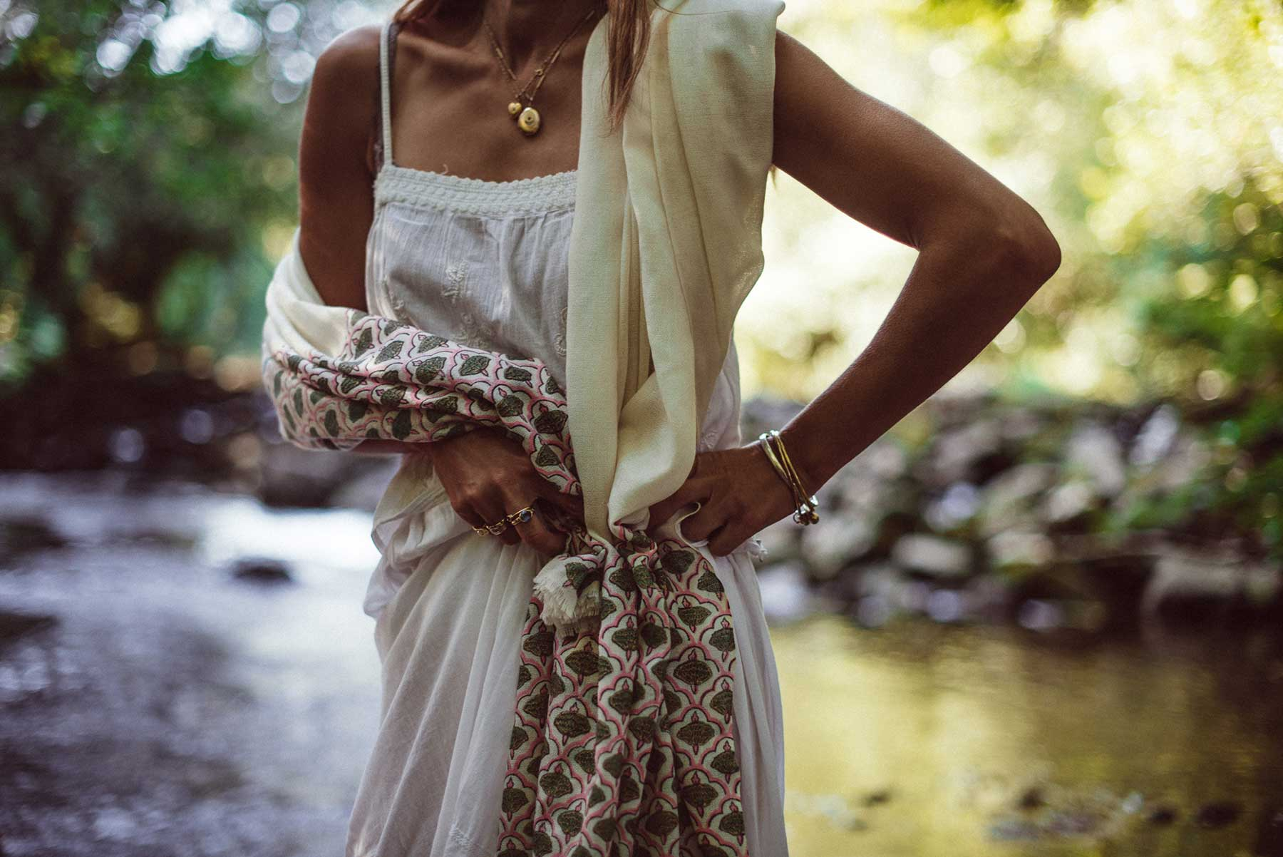 Stunning sustainable fashion dress and scarf - Beshlie McKelvie scarves and traditional arts and crafts from around the world