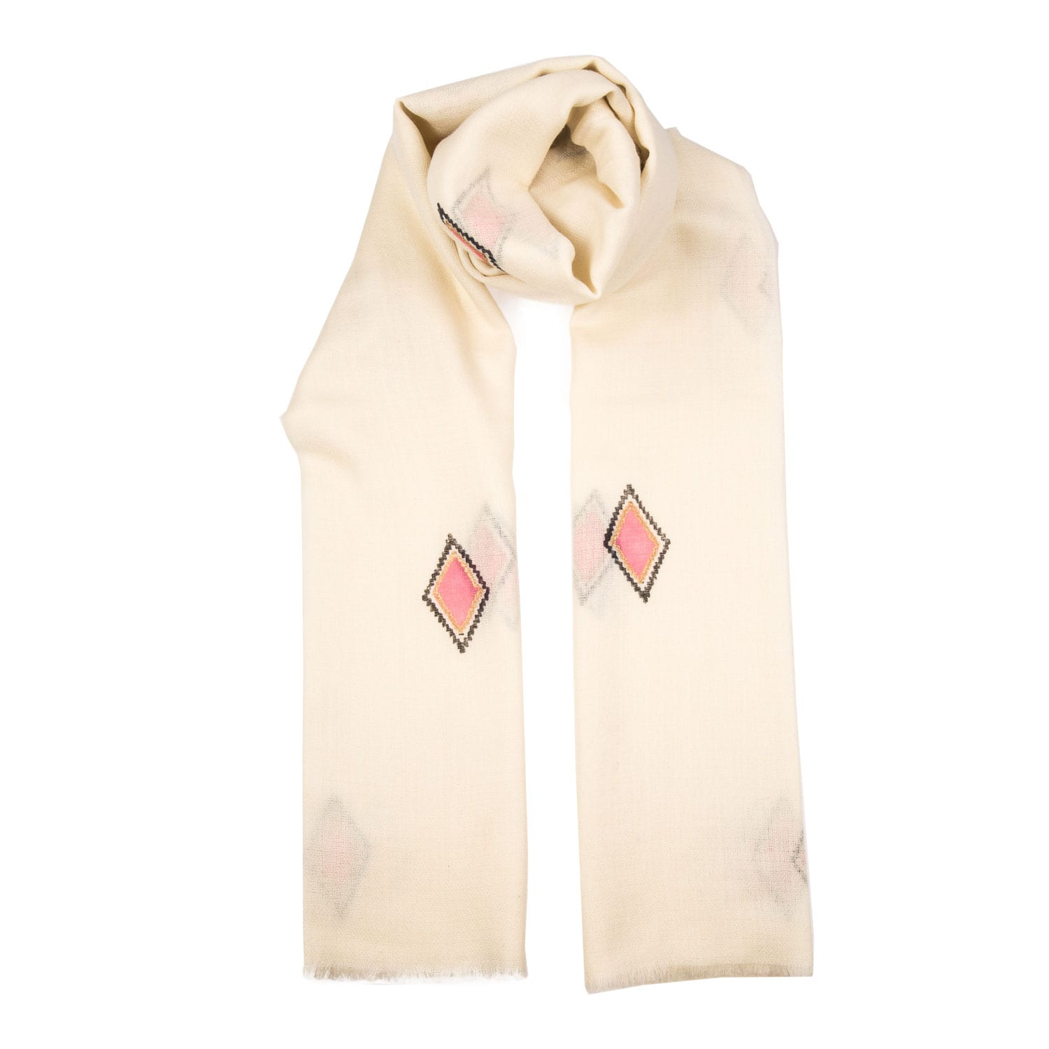 Hand block printed Beltane design is printed in a pale blue, blush pink and gold design on a white background. This is an elegant and very pretty cashmere shawl from Beshlie Mckelvie