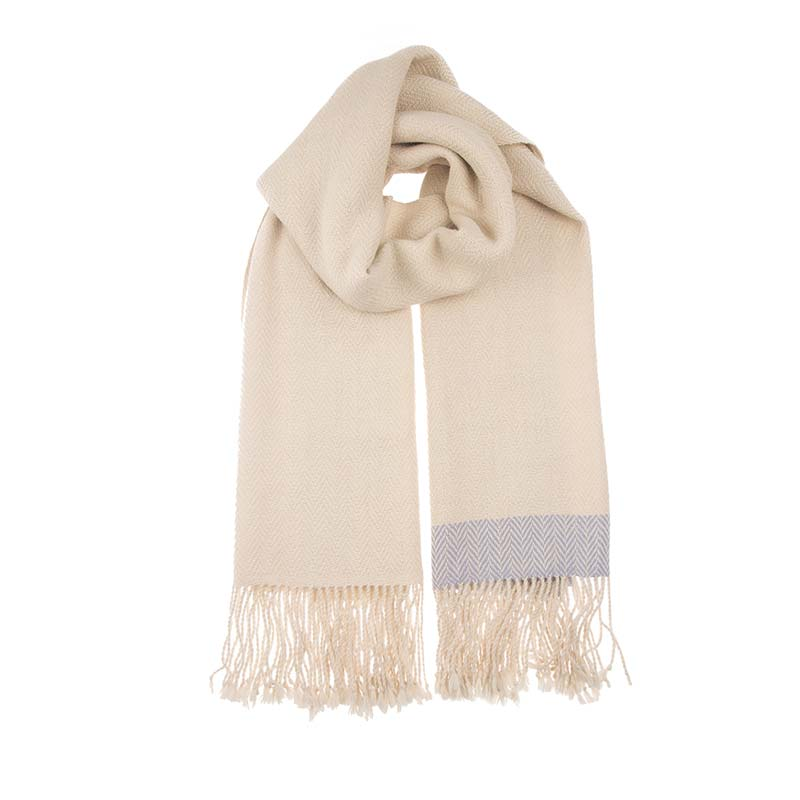 Soft and beautiful cream alpaca shawl, the perfect accompaniment to any outfit. This natural tone alpaca scarf is hand woven, luxurious, and warm. Fair trade scarves from Beshlie McKelvie