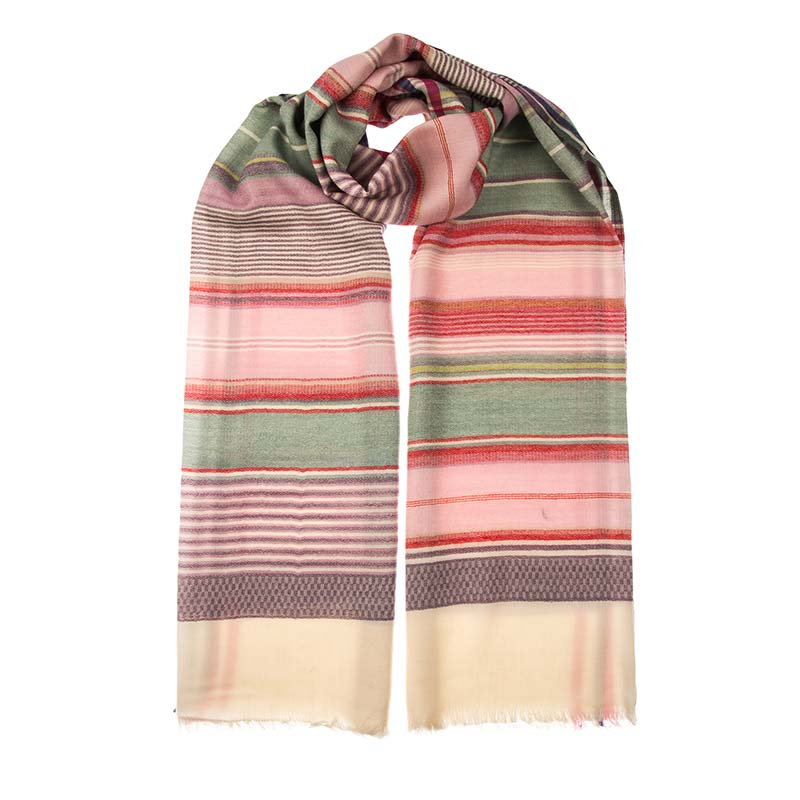 Superb wool and cashmere blend shawl in natural warm striped colours, green, reds, browns and cream. This unisex scarf is such a versatile accessory. Buy fair trade scarves from Beshlie.