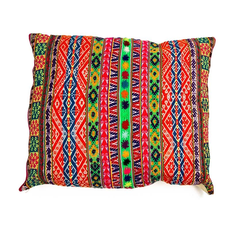 Traditional Peruvian cushion in bright colours and banded patterns. Lovingly hand made high in the Andes Mountains by a fair trade women's cooperative. Buy ethically from Beshlie McKelvie