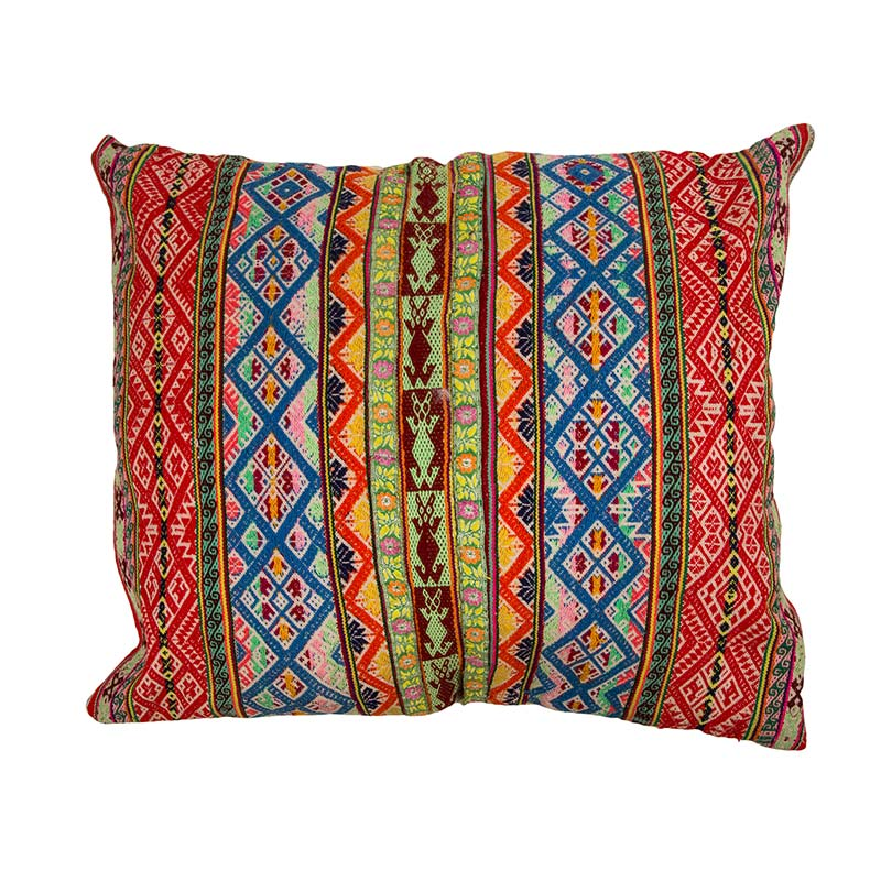 Outstanding Syrian feature cushion, hand embroidered with intricate pattern in rich colours. This cushion is 100% cotton thread and backed with 100% linen. Buy ethically from Beshlie McKelvie.