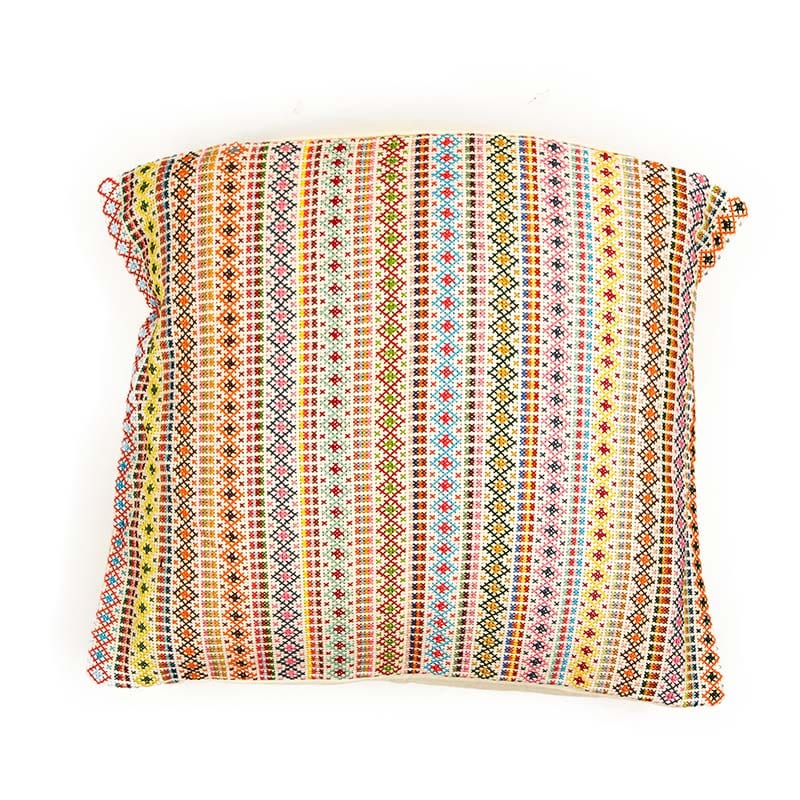 Stunning striped Syrian Cushion, hand embroidered with delicate light coloured patterned bands.This cushion will add style to any room. Fair trade partnership with Sabbara, buy ethically from Beshlie McKelvie.