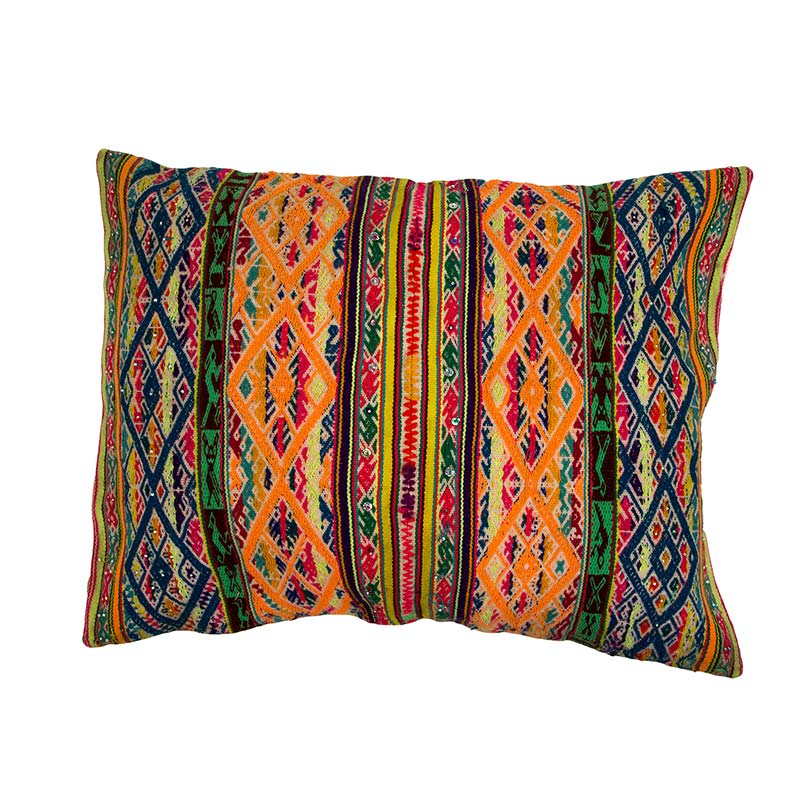 Colourful Peruvian Inca cushion, traditionally made by a women's co operative in South America. These decorative cushions are a show stopper for any room. Buy fair trade from Beshlie McKelvie.