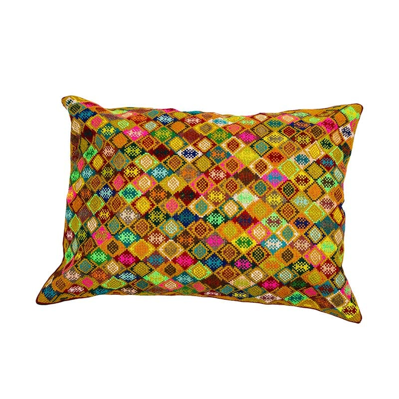 Colourful patterned cushion from Syria, traditionally hand embroidered. Outstanding feature cushion in bright colours with an intricate pattern. Buy ethical cushions from Beshlie.