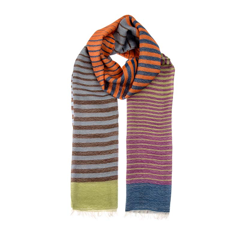 Awesome striped unisex scarf made from a blend of 80% wool & 20% cashmere. Totally unique one of a kind with stripes in blues, oranges & greens and reds. Beshlie McKelvie fair trade scarves.