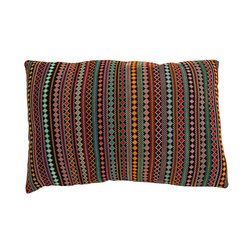 Outstanding hand embroidered cushion made traditionally in Syria by women who are part of the fair trade project Sabbara. Rich colours on a dark base. Buy ethically from Beshlie McKelvie.