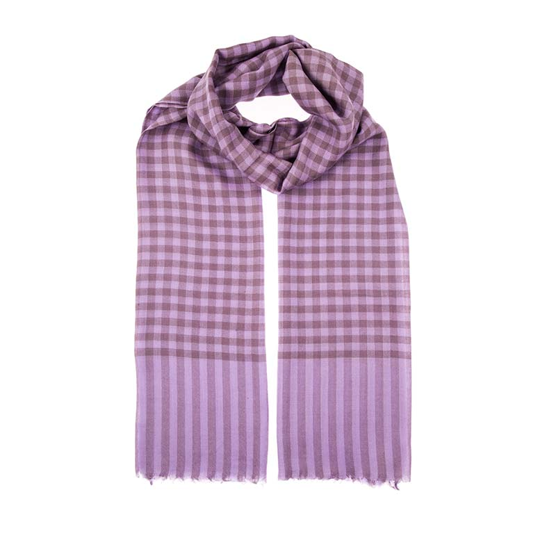Shop ethical fashion with this purple checked scarf from Beshlie. Hand woven in a soft blend of 80% wool and 20% cashmere. Support fair trade with scarves from Beshlie.