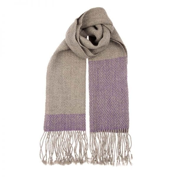 Alpaca hand woven scarf in beautiful neutral tones, made in one of the world's greatest textile producing areas, the Andean mountains. Fair trade scarves and shawls from Beshlie McKelvie.