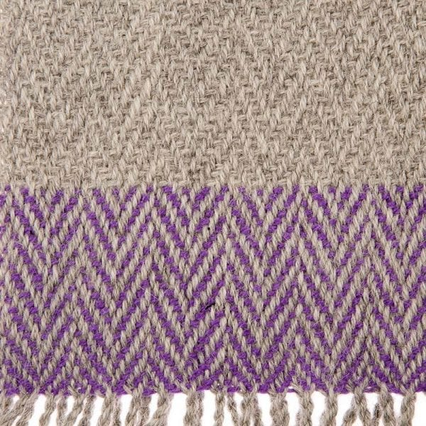 Close up detail of alpaca hand woven scarf in beautiful neutral tones, made in one of the world's greatest textile producing areas, the Andean mountains. Fair trade scarves and shawls from Beshlie McKelvie.