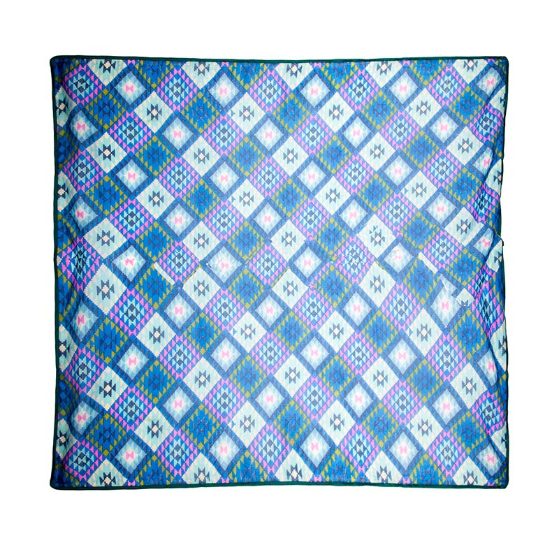Breathtaking silk patterned shawl from Beshlie. Turn heads with this beautiful shawl in blue, green, lilac and cream checkered pattern. Fair trade fashion scarves from Beshlie McKelvie.