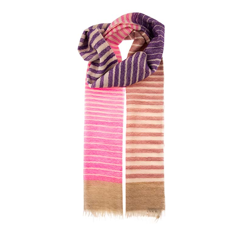 Warm striped scarf hand woven in a blend of 80% wool and 20% cashmere. This unisex scarf has a warm colour palette with oranges, purples and pinks. Buy fair trade scarves from Beshlie McKelvie.