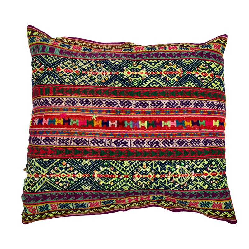 Peruvian frazada cushion, the perfect accompaniment to your sofa or bed. The intricate woven banding in rich colours is of outstanding quality. Buy fair trade from Beshlie McKelvie.