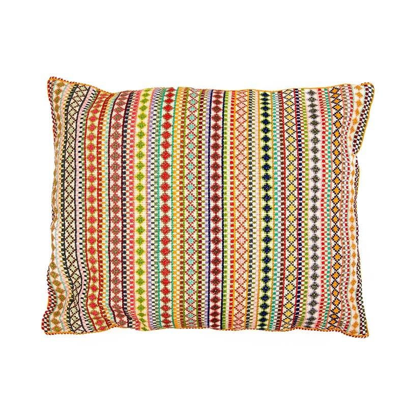 Look no further than this superb feature cushion in rainbow colours, lovingly hand embroidered in Syria. Made of 100% cotton thread, backed with 100% linen. Beshlie McKelvie in partnership with fair trade Sabbara project.