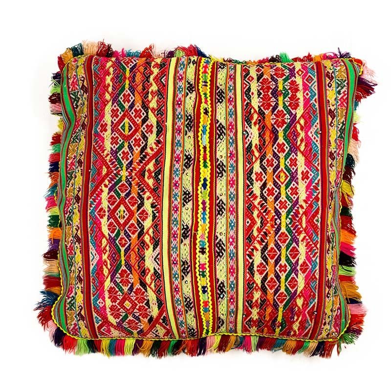 Colourful Peruvian cushion, traditionally made in the Andean Mountains of South America. Brighten up your home with this decorative cushion. Buy fair trade from Beshlie McKelvie.