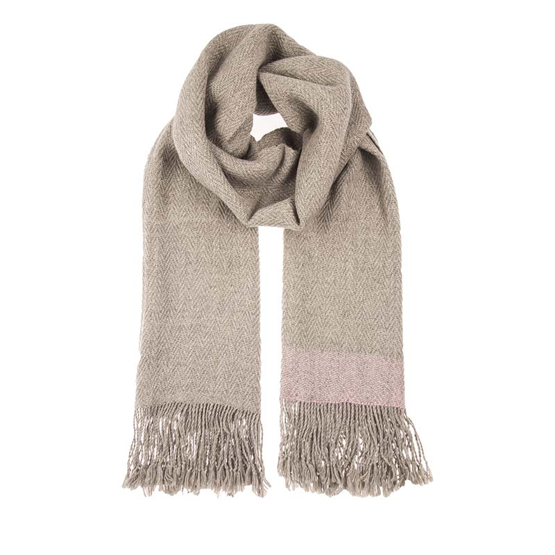 Sensational fawn alpaca shawl hand woven by a co operative of Aymaran women in La Paz in Bolivia. This natural tone scarf is luxurious, light weight & soft. Buy fair trade scarves from Beshlie McKelvie.