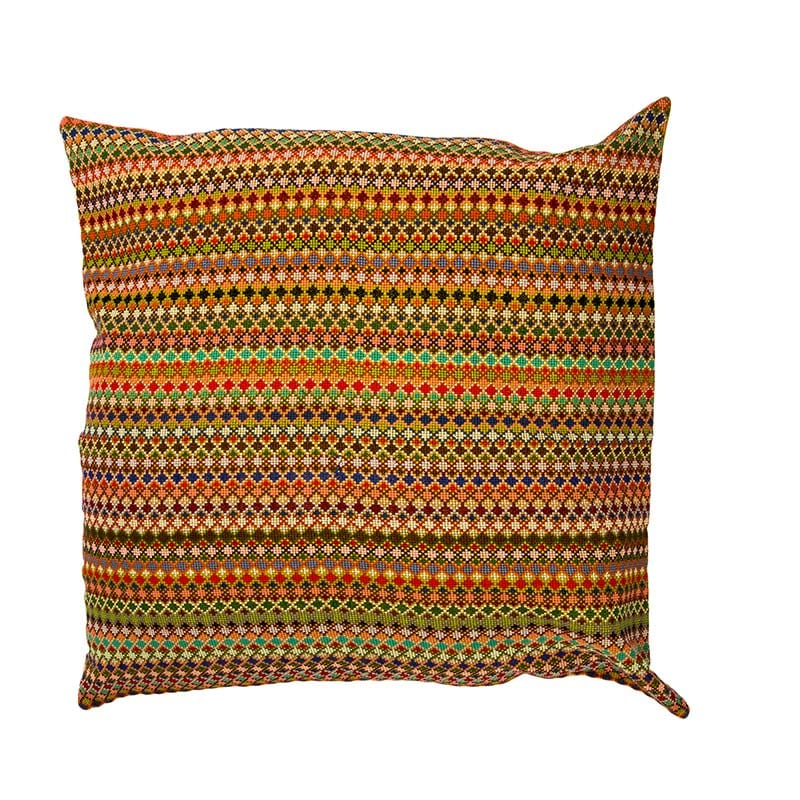 Gorgeous hand woven Syrian cushion in orange & mustard colours. Made of 100% cotton thread & backed with 100% linen. A unique statement piece. From Beshlie McKelvie in collaboration with Syrian charity Sabbara.