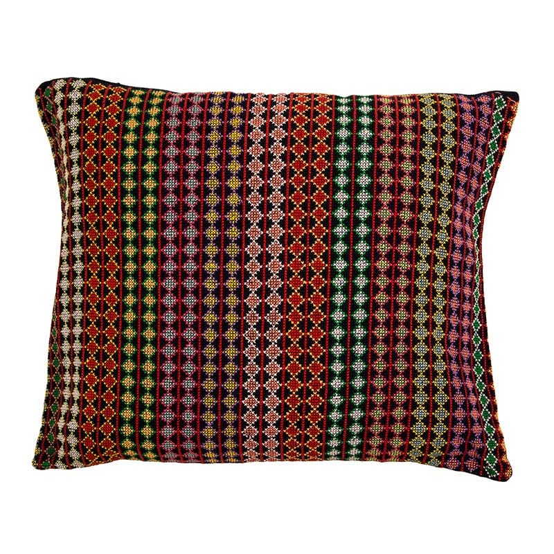 Unique Syrian cushion, hand embroidered in beautiful rich thread with a dark base. Made of 100% cotton thread & backed with 100% linen. Lovingly stitched by women from fair trade project Sabbara in partnership with Beshlie McKelvie.