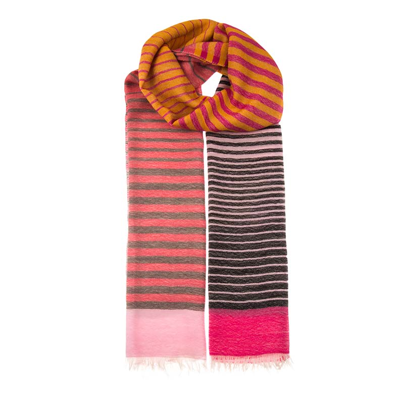 Unique unisex wool & cashmere striped scarf. Hand woven from a blend of 80% wool & 20% cashmere. This scarf is soft and versatile, dress it up or down. Buy ethical fashion from Beshlie McKelvie.