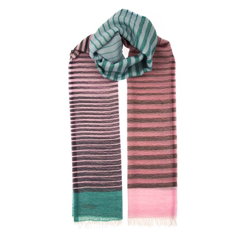 Fair trade striped shawl hand woven in a blend of 80% wool & 20% cashmere. This unisex scarf is a one of a kind, dress up your suit with a splash of colour. Fair trade scarves from Beshlie McKelvie.