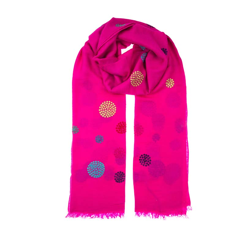 Gorgeous fusia pink cashmere woven shawl, hand embroidered with colourful circle motifs. Light weight and floaty this finely woven shawl was made with love. Fair trade fashion scarves from Beshlie McKelvie.