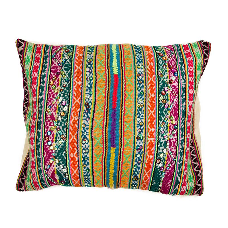 Beautiful Peruvian coloured cushion in bright colours, this cushion will light up any room. Hand made in Peru by a women's fair trade co-operative. Buy fair trade from Beshlie McKelvie.