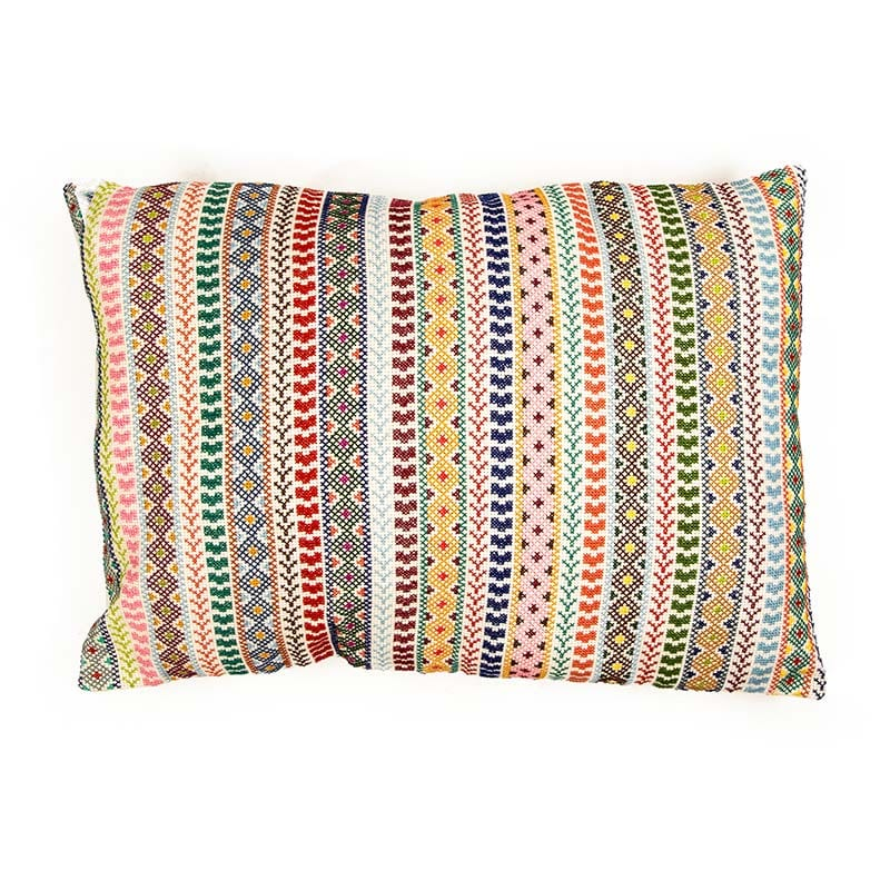 Exquisite hand embroidered Syrian cushion with beautifully stitched bands of colour on a light base. This cushion will light up any room in your home. Beshlie McKelvie in partnership with fair trade project Sabbara.