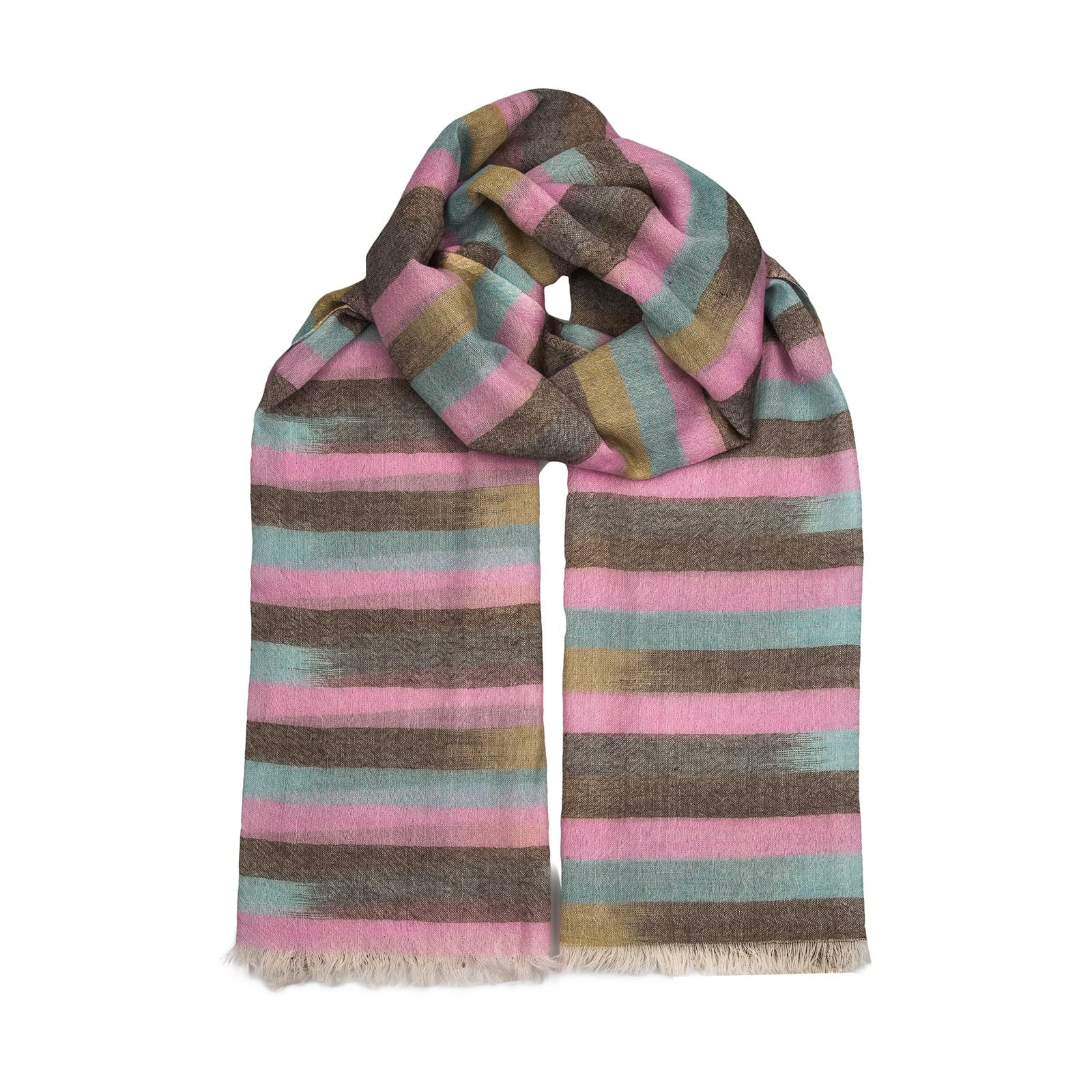 Neutral cashmere scarf in an exquisite blend of cashmere & wool, lending it to being both lightweight & warm. In pinks, browns & blues.
