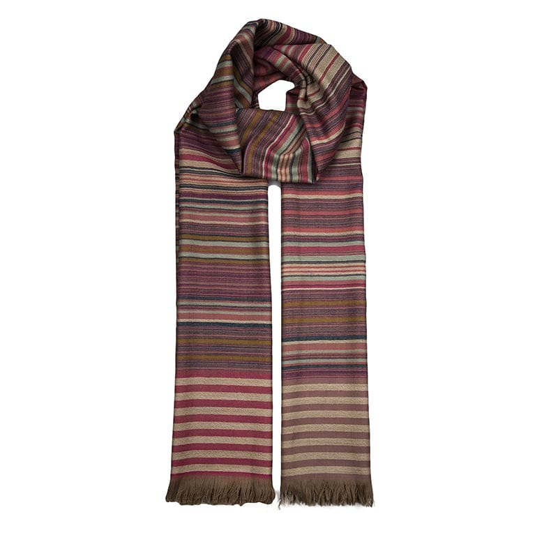 Striped wool and cashmere blend hand woven scarf. Wrap up in warm brown tones this winter and support fair trade with Beshlie.