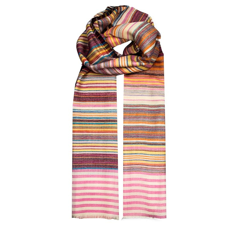 This soft and lightweight scarf is hand woven from a blend of wool and cashmere. Soft colour palette of pinks and oranges in a striped pattern.