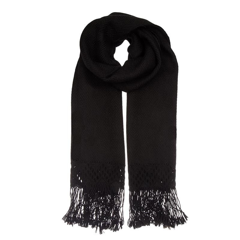 Look no further for the perfect black scarf. Hand woven from luxuriously soft Alpaca wool, with beautiful detail on the fringing.
