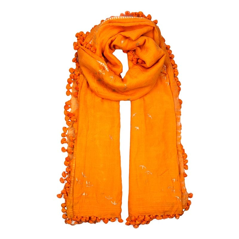 Gorgeous manderin pom pom dupatta. The Dupatta scarf is a hand loomed shawl made of fine blend silk and cotton in Southern India.