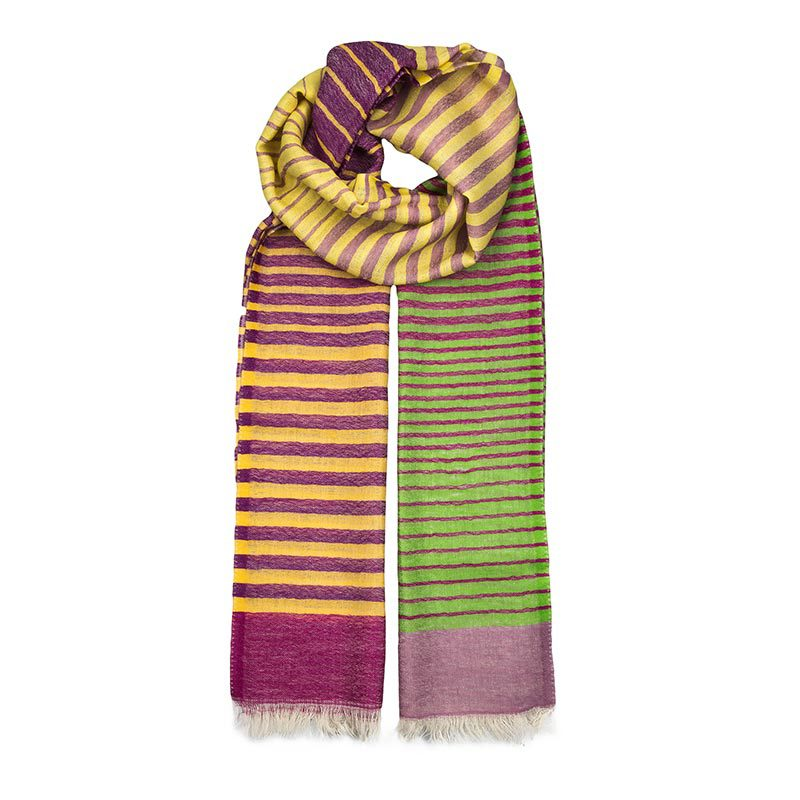 Stripey scarf in vibrant colours made from a blend of wool & cashmere. This blend creates a soft and lightweight scarf making it the perfect accompaniment.