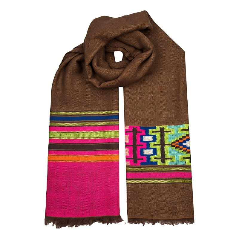The Ocelot is hand woven in the himalayas from the finest cashmere. A stunning brown base with brightly covered motifs, this Aztec scarf is one of a kind.