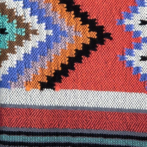 This close up detail of scarf is a stunning example of traditional Aztec weaving. It has a luxurious grey base colour complimented with stunning Aztec motif patterning.