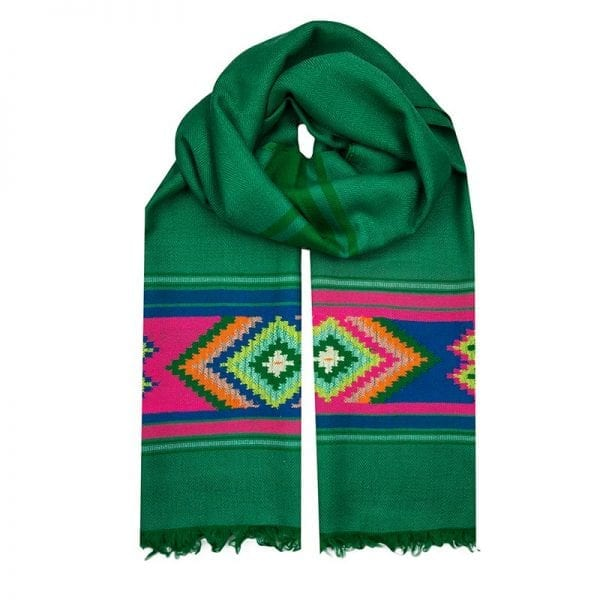 Stunning green handwoven scarf with a colourful Aztec motif. In the Nahuatl Aztec language, Totec is the God of spring, representing the renewal of seasons.
