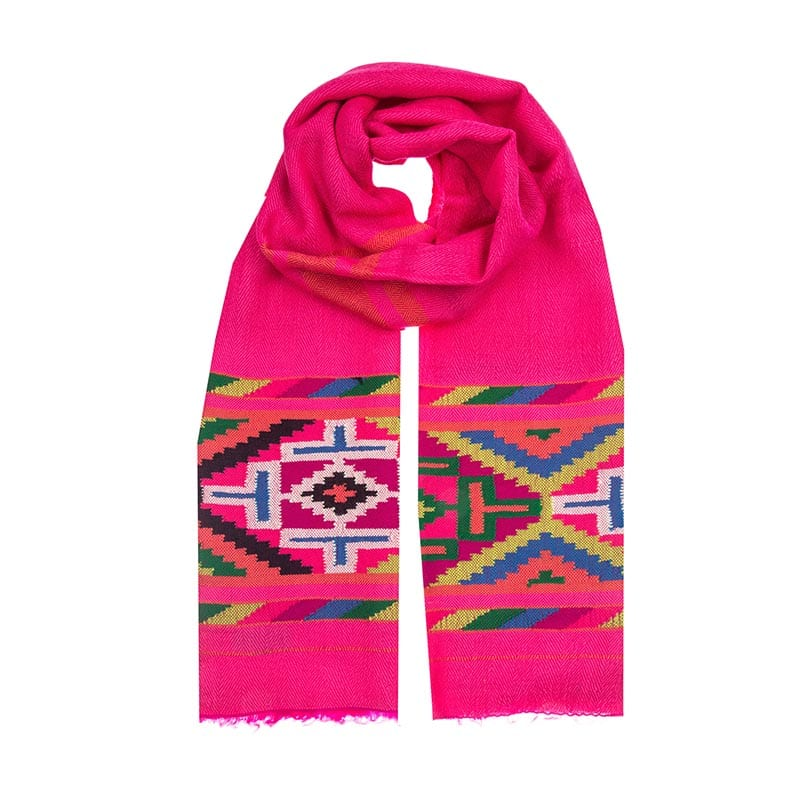 Vibrant and beautiful hand woven pink aztec scarf. Taken from the old Nahuatl aztec language, the name Xochiquetzal means precious feather flower.