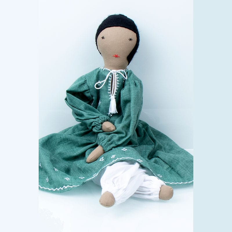 Original and unique upcycled ragdoll, Nargis.This doll is made by women refugees from Afghanistan through Social Enterprise Silaiwali in India.