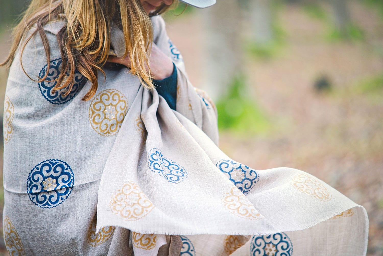 Stunning scarf from Beshlie mckelvie - luxurious, soft hand block printed.