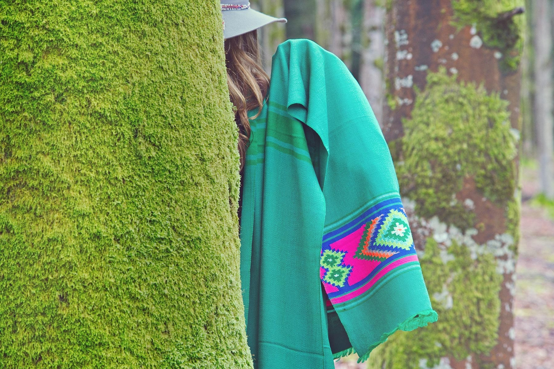 Beshlie McKelvie scarves - buy sustainable fashion scarves - bright green scarf with aztec pattern