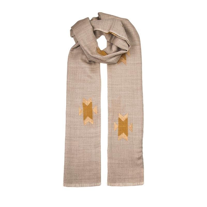 Navajo gold hand block printed cashmere scarf - fair trade
