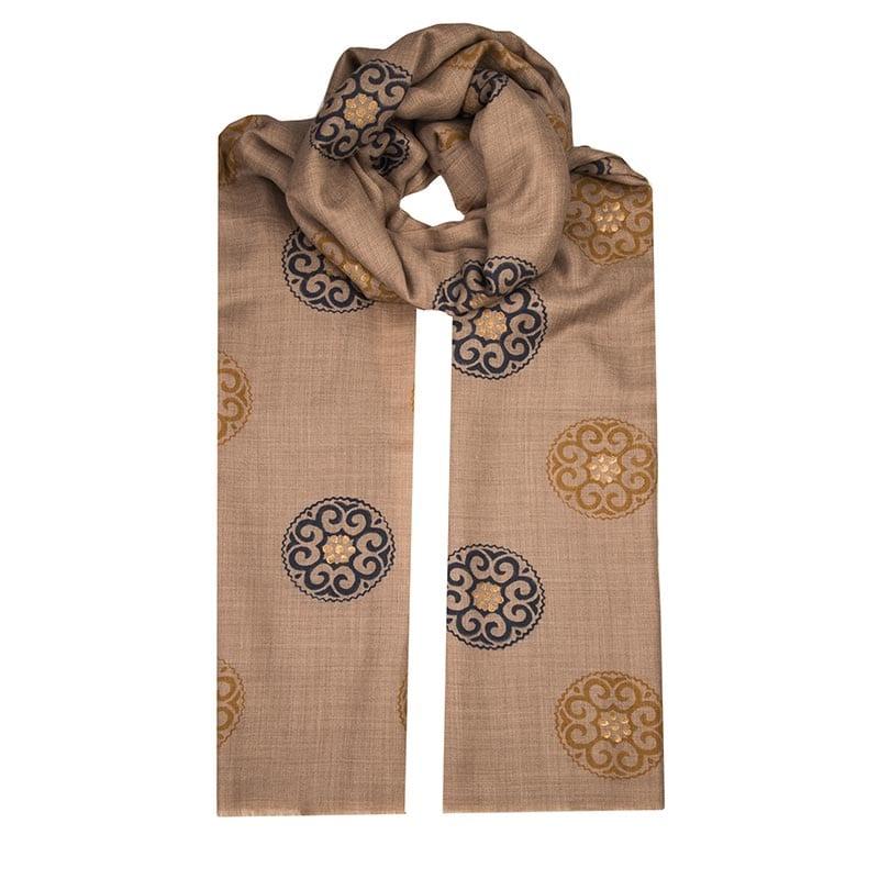 Spring Equinox mandala scarf - hand block printed scarf - buy fair trade from Beshlie McKelvie
