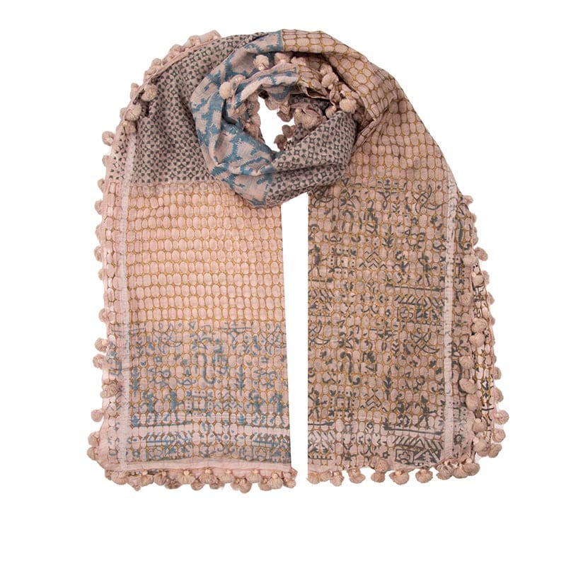 Floresta dupatta in a blend of cotton & silk. Unique forest design hand block printed in neutral colours. Soft & warm, the perfect all round scarf.